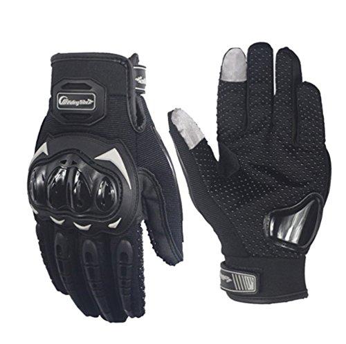 ARTOP Guantes Moto Verano Anti-Deslizante Anti-Colisión con Dedo Táctil Muy Buena Protección para Hombres(Negro,M)