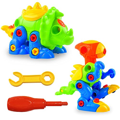 LURICO-Take-Apart-Dinosaurs-Creative-and-Play-Puzzle-Toy-DIY-Take-apart-Pull-Along-Toys-2-Sets-Assemble-and-Disassemble-Play-Set-with-Tools-for-Kids-over-3-Years-Old-Assorted-Color
