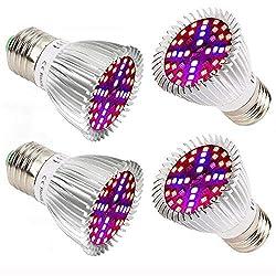 Lampe Pflanzenlampe 40W Hoch Effizient Pflanzenlampen,E27 Sockel, für Wasserpflanzen, Saatgut, Blumen, Topf- und Zimmerpflanzen, Gemüse, Wachstumslampe [4 Pack]