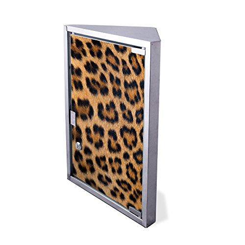 Preisvergleich Produktbild banjado Edelstahl Medizinschrank Eckschrank abschließbar 30x17,5x45cm Badschrank Hausapotheke Arzneischrank Bad Leopardenfell
