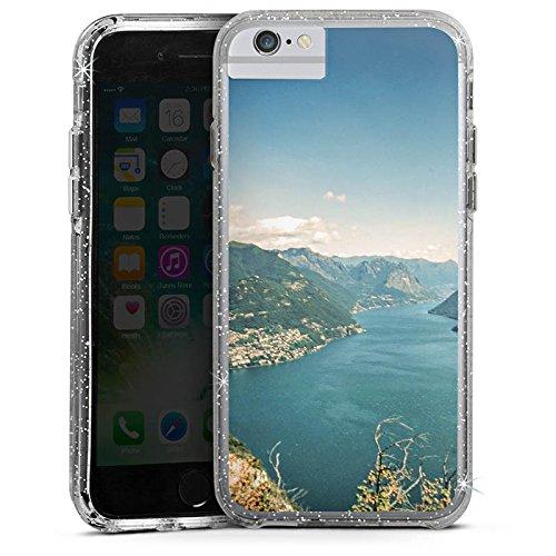 Apple iPhone 6 Bumper Hülle Bumper Case Glitzer Hülle Landschaft Berge Fluss Bumper Case Glitzer silber