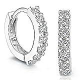 Auped Orecchini donna elegante 925 d'argento Strass cerchio Diamante Orecchini per donna