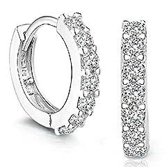 Idea Regalo - orecchini donna, DDLBiz® elegante 925 d'argento Strass cerchio Diamante Orecchini per donna