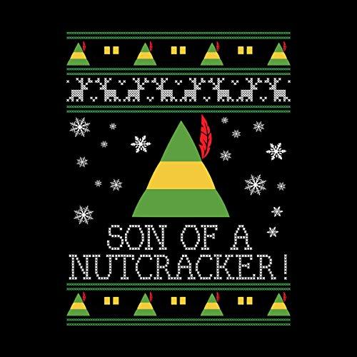 Son Of A Nutcracker Elf Quote Christmas Knit Women's Hooded Sweatshirt Black