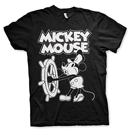 Disney - mickey mouse officially licensed - steamboat willie t-shirt maglia maglietta vintage ufficiale (nero, medium)