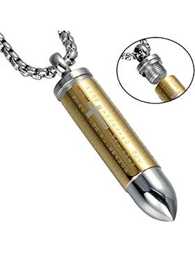 Lord 's Gebet Kreuz Edelstahl Bullet Anhänger Halskette für Herren, 61cm Kette