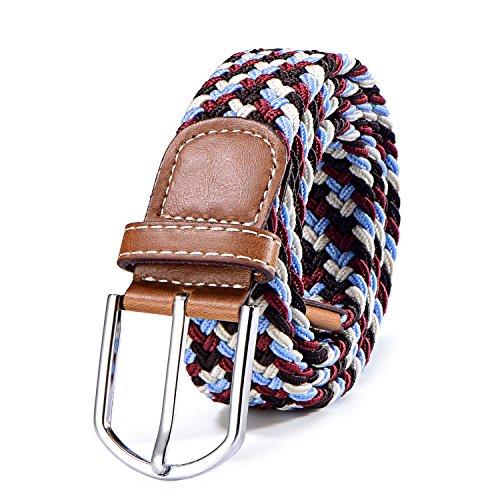 BOZEVON Cintur/ón trenzado el/ástico Multi-colores Cintur/ón de tejido el/ástico tejido la tela de estiramiento para Hombres Mujeres