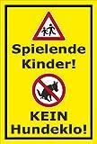 Schild – Hier ist kein Hundeklo – Spielende Kinder – 15x10cm, 30x20cm und 45x30cm – Bohrlöcher Aufkleber Hartschaum Aluverbund -S00187-012-C