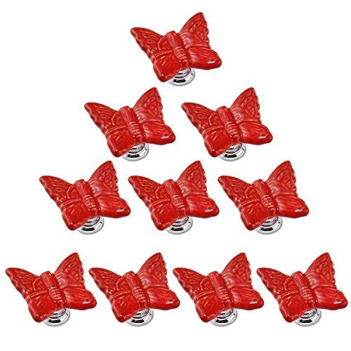 Perillas de porcelana PsmGoods® con forma de mariposa, para puertas, cajones, estilo vintage para tocador, cocina, armario, alacena, muebles de bebés y niños, color pastel (10 unidades)