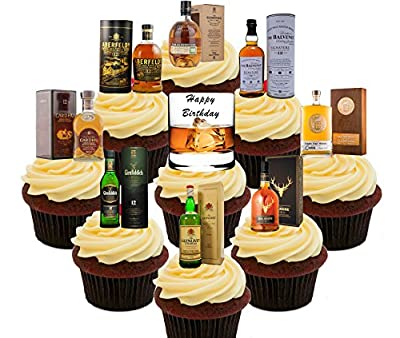Happy Birthday, Whisky Lover Party Pack, Edible Cake Decorations - Stand-up Wafer Cupcake Toppers