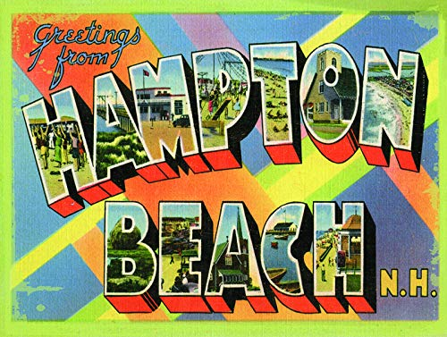 MENYRU Vintage Style Metal Signs As Wall Decor, Decorative Coffee Bar Sign, Hampton Beach NH Post Card 12 x 16 inches by -