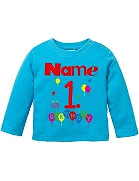 EZYshirt Geburtstag Wunschname Wunschnummer Baby T-Shirt Longsleeve Bio Baumwolle