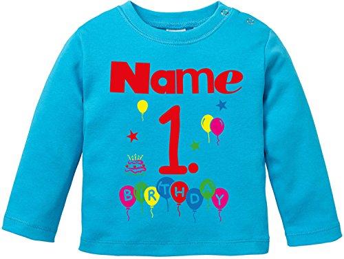 EZYshirt EZYshirt Geburtstag Wunschname Wunschnummer Baby T-Shirt Longsleeve Bio Baumwolle