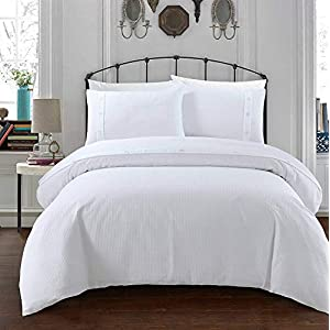 Sleepdown Simple and Classy Waffle Design White Duvet Cover and Pillow Cases Bedding Set with Buttons Closure(Single)
