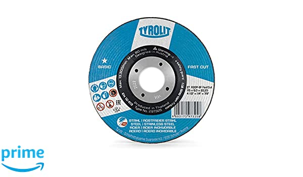 FASTCUT 2in1 rough grinding discs for steel and stainless steel TYROLIT pack of 10-115mm x 6.0 x 22.23-10x angle grinder disc for high stock removal rates in the shortest possible time
