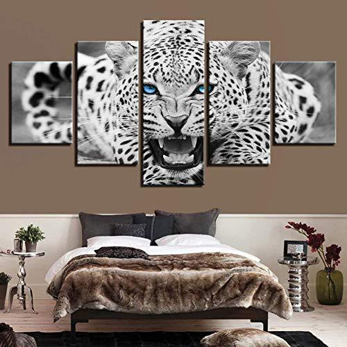 Ysurehom 5 Leinwandbilder Hd Drucke Wandkunst Bilder5 Stücke Blauen Augen Leopard Tiger Leinwand Gemälde Wohnkultur Schwarz Und Weiß Tier Poster -