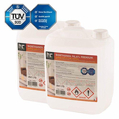 Preisvergleich Produktbild 2 x 5 L Bio Ethanol Premium 96,6% für Kamin - versandkostenfrei - im sicheren 5 L Kanister - TÜV SÜD zertifiziert