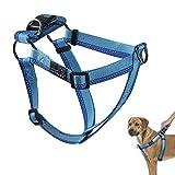 PETBABA Hundegeschirre, Vorne Gegen Ziehen Reflektierend Verstellbar Brustgeschirre für Hunde in Blau