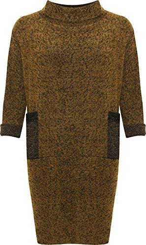 WEARALL - Femmes Plus Longue Manche Paillette Poche Capot Polo Cou Dames Tricoté Cavalier Robe - 44-56 Moutarde