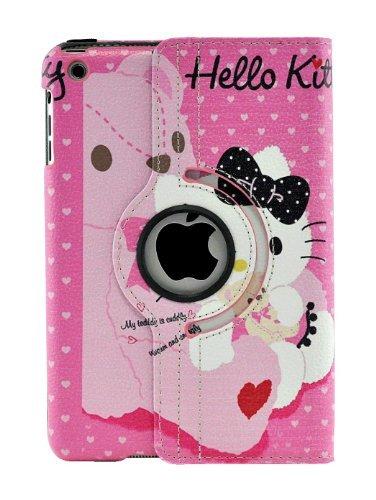 Hello Kitty Sanrio Apple (livitech (TM) Hello Kitty Design 360Grad Drehbar PU Leder Hard Case für Apple iPad 432iPad Mini Rosa/Weiß iPad Mini)