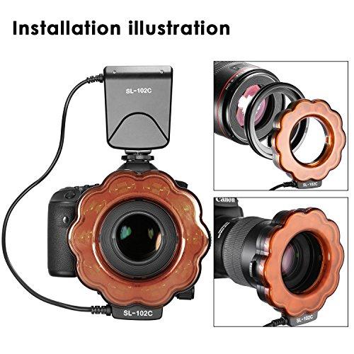 Neewer-Macro-Luce-Anulare-LED-con-LCD-Display-Filtro-Arancione-8-Livelli-di-Luminosit-Regolabili-8-Anelli-Adattatori-per-Scatti-macro-Fotografia-di-Prodotti-e-Illuminazione-SL-102