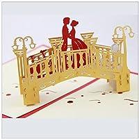 BC Worldwide Ltd Coppia di amanti del pop-up di arte 3D origami papercraft fatti a mano sul ponte d'oro invito a nozze anniversario fidanzamento carta di San Valentino