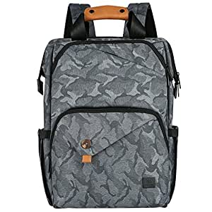 Bebamour Nappy Changing Bag Travel Backpack with Changing Mat Large Capacity Baby Bag (Grey)