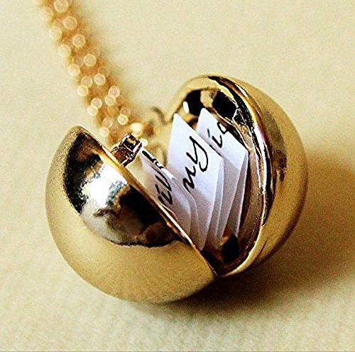 Brillante oro mensaje secreto collar con camafeo–Vintage de oro bola de latón–Calcetín stuffer regalo