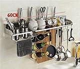 YSNUK Scaffale della Cucina dell'Acciaio Inossidabile/scaffale della Spezia della Parete/scaffale di stoccaggio/Blocchetto del Coltello/organizzatore della mensola della Cucina Scaffale di STO