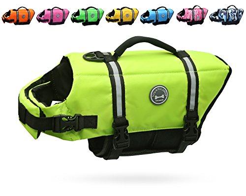 Vivaglory Hundeschwimmweste Doggy Float Coat Wassersport Schwimmhilfe Rettungsweste für Hunde Haustier Mit Griff und Reflektoren, Neon-Gelb, M