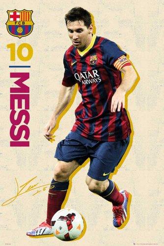 empireposter Fußball Barcelona - Messi Vintage 13/14 - Fussball Poster - Barcelona Fc. - Grösse 61x91,5 cm + 2 St Posterleisten Holz 61 cm
