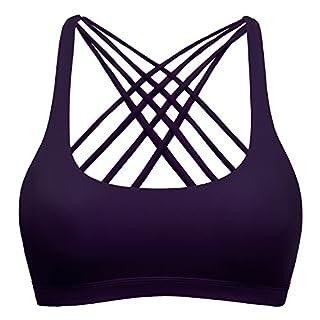 Sport BH Yoga BH Fitness BH Bustier Stretch Sports Bra Starker Leichter Halt Mit X-Rücken Für Running BH Geschmeidig Und Luftig Für Damen Purple S