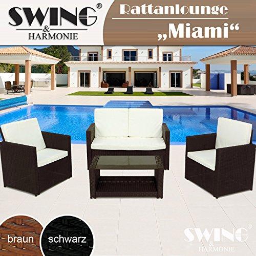 Rattan Lounge Sitzgruppe für 4 Personen Sitzgarnitur Gartenmöbel Polyrattan Sofa