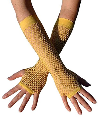 Gothic Armstulpen - Punk Unterarm Netz-Handschuhe in diversen Farben, Gelb, S-L