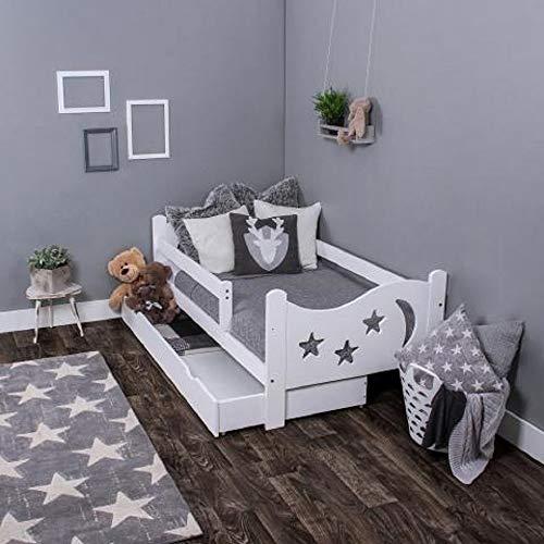 LULU MÖBEL Kinderbett Chrisi Komplett - Bett mit Matratze 160x80 Lattenrost und Schublade   für Kinder ab 2 jahren   Mädchen Junge   Jugendbett Juniorbett Kinderzimmer Funktionsbett   Weiß