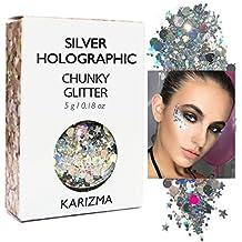 Silver Holographic Chunky Glitter ✮ KARIZMA BEAUTY ✮ Festival Glitter Cosmetic Face Body Hair Nails