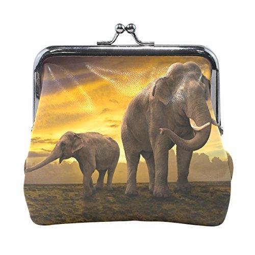 COOSUN Familia de los elefantes en la puesta del sol de cuero...