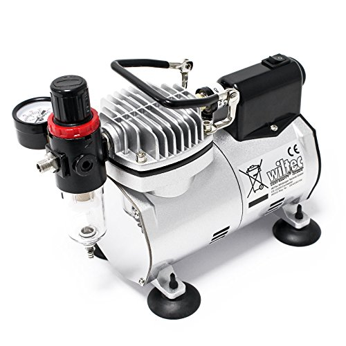 Compresor Aerógrafo AF18-2 Regulador de Presión Parada automática Pistón 4 bar Manómetro...