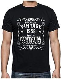 Premium Vintage Year 1958, tshirt homme anniversaire, homme anniversaire tshirt, millésime prime tshirt homme, cadeau homme t shirt