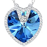 Christmas Gifts for Women NEEMODA Blue Crystal Womens Necklace Heart Pendant Fashion Jewellery Gifts for Her Birthday Anniversary Valentines Day Present White Gold Plated