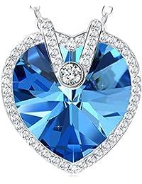 "NEEMODA ""Heart of the Ocean"" Luxury Crystal Heart Pendant Necklace Jewellery"