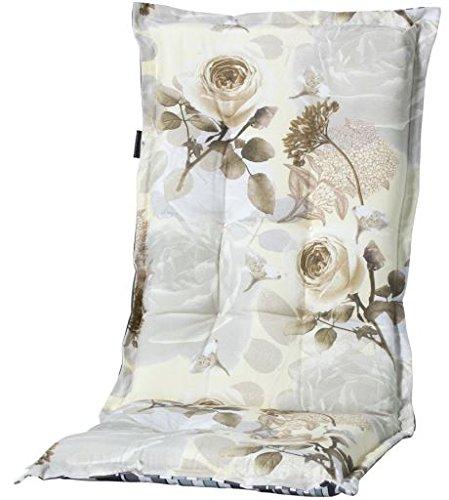 Madison 7MONL-F075 Stuhlauflage, niedrig Rozen, 50 x 105 cm, Baumwolle / Polyester, Blumendesign in taupe