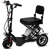 Dp-chair Elettrodomestico Mobility Scooter 3 ruotato Matt Black con cestello Staccabile, Leggero, Pieghevole, Pesante casa Sedia a rotelle elettrica,50km
