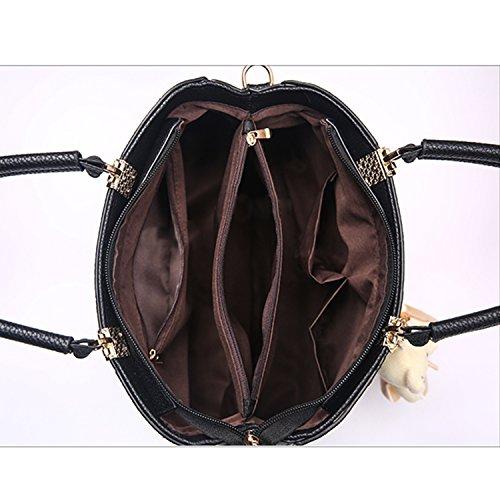 BYD - Pell Donna Handbag Donna Borsa a Spalla Totes Borse a Mano striscia colorata Viola