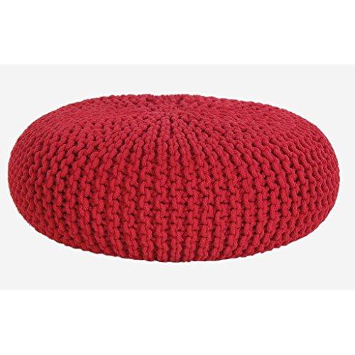 Homescapes Pouf large et allongé Rouge en 100% Coton tricoté main de 70 x 23 cm