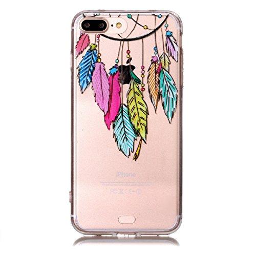 iPhone 7 Plus Hülle,SainCat iPhone 7 Plus Silikon Hülle Tasche Handyhülle Cartoon Retro Muster [Löwenzahn] Schutzhülle Transparent TPU Gel Case Bumper Weiche Crystal Kirstall Clear Silikonhülle Durchs Campanula Farbe