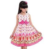 Honestyi BabyBekleidung Kinder Mädchen Bogen Gürtel ärmellose Blase Pfau Kleid Party Kleidung Outfits (S,Rosa)