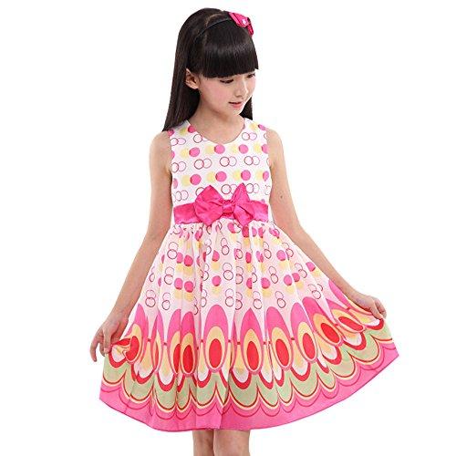 Honestyi BabyBekleidung Kinder Mädchen Bogen Gürtel ärmellose Blase Pfau Kleid Party Kleidung Outfits (L,Rosa)