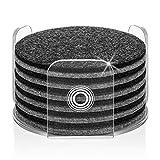 Premium Glasuntersetzer | Filzuntersetzer 13er Set - 12 Untersetzer für Gläser + 1 Acryl Halter | Aus Premium Europen Filz für Tisch, Tassen, Bar, Glas | Exklusive Box...