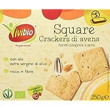 Vivibio Square Crackers di Avena e Farro Integrale e Semi - 6 Confezioni da 5 Pezzi